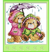 """Набор для вышивания крестиком """"Под дождем"""", в пак.32*32см(K566)"""