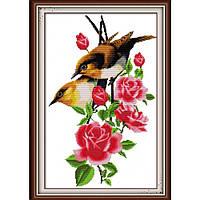 """Набор для вышивания крестиком Цветы """"Птички на ветке 2"""",в пак. 35*50см , 14 СТ(H098)"""