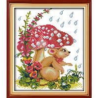"""Набор для вышивания крестиком Звери """"Мышка под грибком"""", в пак.31*37см, 11СТ(D115)"""