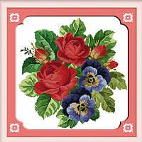 """Набор для вышивания крестиком Цветы """"Цветочная фантазия"""",в пак. 34*35см(H096)"""