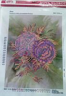 """Ткань с нанесенным рисунком-схемой (атлас) """"Розы"""", 35*26см., для вышивания бисером,(БИС3150)"""