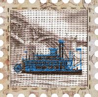 """Набор для вышивания нитками """"Пароход"""" на фоновой канве, с рамочкой в компл., р 24*24см(КО4010-У)"""