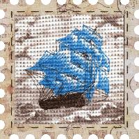 """Набор для вышивания нитками """"Парусник"""" на фоновой канве, с рамочкой в компл., р 24*24см(КО4012-У)"""