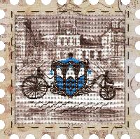 """Набор для вышивания нитками """"Карета"""" на фоновой канве, с рамочкой в компл., р 24*24см(КО4013-У)"""