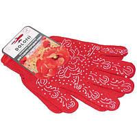 Перчатки женские с ПВХ рисунком красные с белым N10317967