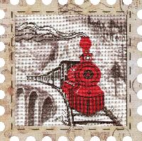 """Набор для вышивания нитками """"Паровоз"""" на фоновой канве, с рамочкой в компл., р 24*24см(КО4016-У)"""