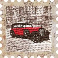 """Набор для вышивания нитками """"Автомобиль"""" на фоновой канве, с рамочкой в компл., р 24*24см(КО4017-У)"""
