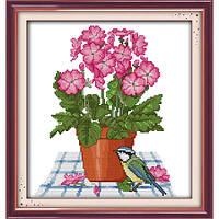"""Набор для вышивания крестиком """"Цветы и птица"""",в пак. 31*33см(H257)"""