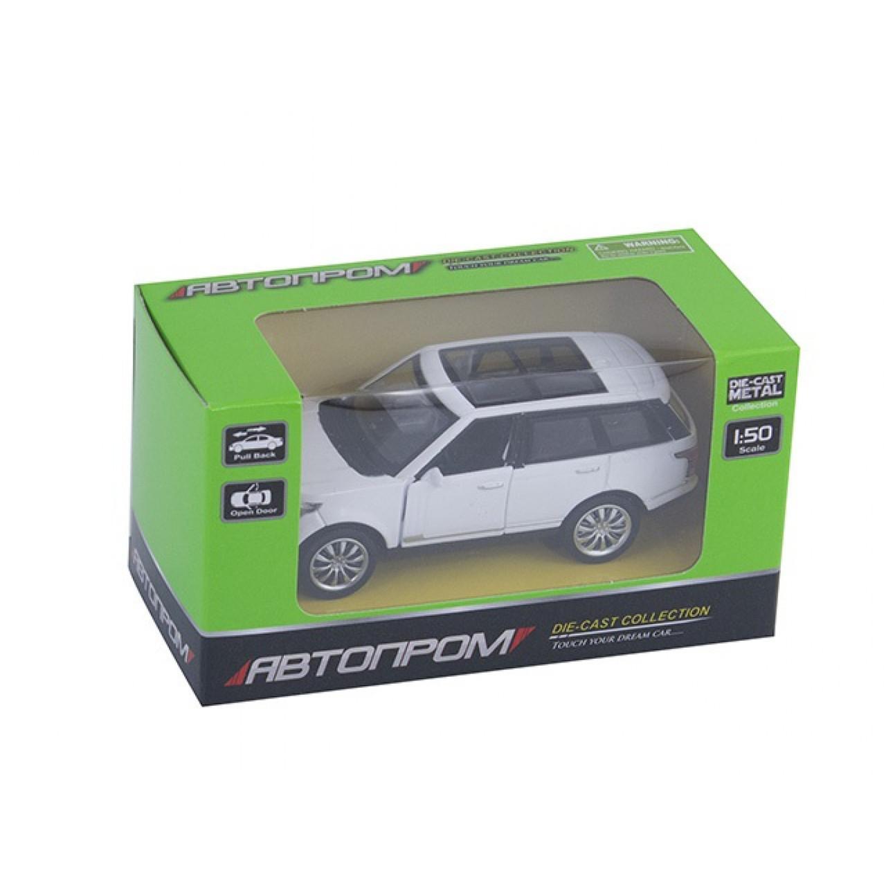 """Машина металева """"Автопром"""" Range Rover, М1: 50, в коробці, 4 кольора, 12 х6,5 х5,7 см (54) (108) КІ №7715"""