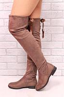 Женские кофейные Сапоги Ботфорты с ленточками р.36, фото 1