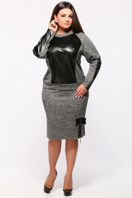 Женский стильный костюм двойка Инесса / размер 50-58 / цвет серый