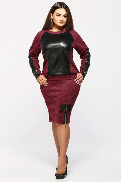 Женский стильный костюм двойка Инесса / размер 50-58 / цвет бордо