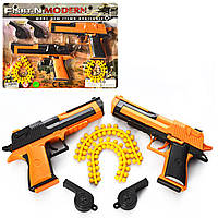 Набір військ. пістолет(2шт),пульки,свисток(2шт) на листі 28,5х22х2,5см №608B(72)