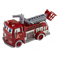 Машина музикальна, на батарейці, світло Тачки: Пожежна, в коробці 23х12см B838A