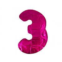 """Кулька повітряна цифра """"3"""" 1 метр рожева фольга"""