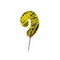 """Кулька повітряна цифра """"9"""" золото фольга (20)"""