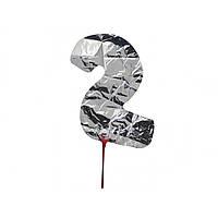 """Кулька повітряна цифра """"2"""" срібло фольга (20)"""