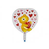"""Кулька повітряна фольгована """"Ведмедик"""" серце"""