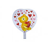 """Кулька повітряна плівка серце """"Ведмедик"""""""