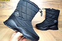 Зимние женские сапоги Timberland спортивные черные с мехом