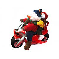 Сніговик-мотоцикліст музикальний механічний 800424 30см