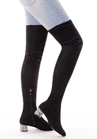 Женские черные ботфорты на низком каблуке 5 см с камнями и стразами эко замша