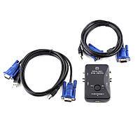 2-портовый KVM свич, переключатель USB + 2 кабеля