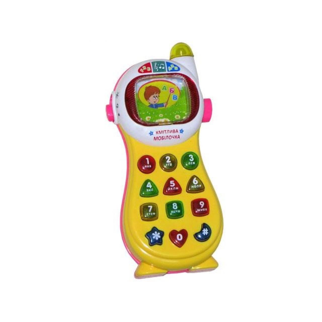 Телефон музикальний на батарейках. Розумний телефон JT0103UK 7 функцій, звук (українською) в коробці 29х13х5см