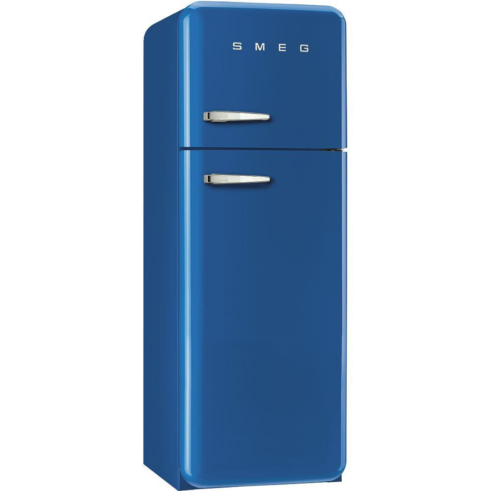Отдельностоящий двухдверный холодильник, стиль 50-х годов Smeg FAB30RBE3 синий
