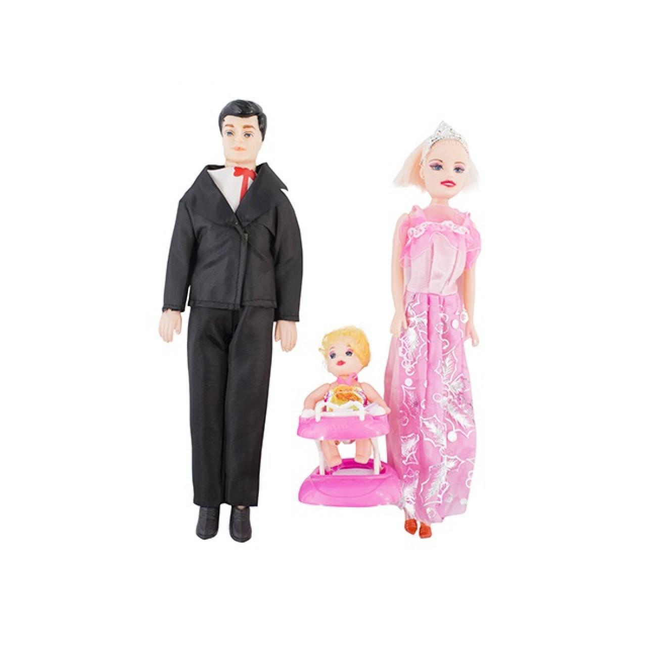 Набір ляльок Сім'я Барбі 2 дорослих і дитина, ходунки, 30см, 2 види 189