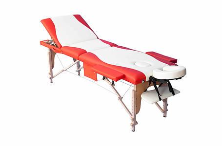 Массажный стол PBT, 3 сигментный, деревянный, фото 2
