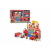 Набір ігровий на батарейці: пожежна станція, звук, світло, знаки, транспорт 3 шт., 4 фігурки, в коробці 63х39,5х11см 12636 (3)
