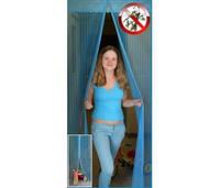 Москитная сетка на двери на магнитах  120*210 голубой