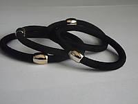 Резинка черная тонкая, золотая бусинка ОО-0045