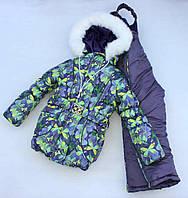 """Зимний костюм """"Эльза"""" для девочки бабочки салатовый с серым. Размер 86/92 (1-2 года)"""
