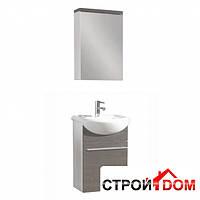 Тумба с раковиной и зеркальный шкафчик Premiera Grand белый/фасад серое дерево