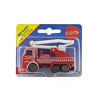 Машина металева Пожежна на планшеті 9,7х7,8х5см, 3 види T1321