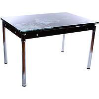 Стол стеклянный обеденный раздвижной White flowers черный N80345025