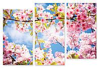 Модульная картина розовые цветы на ветке