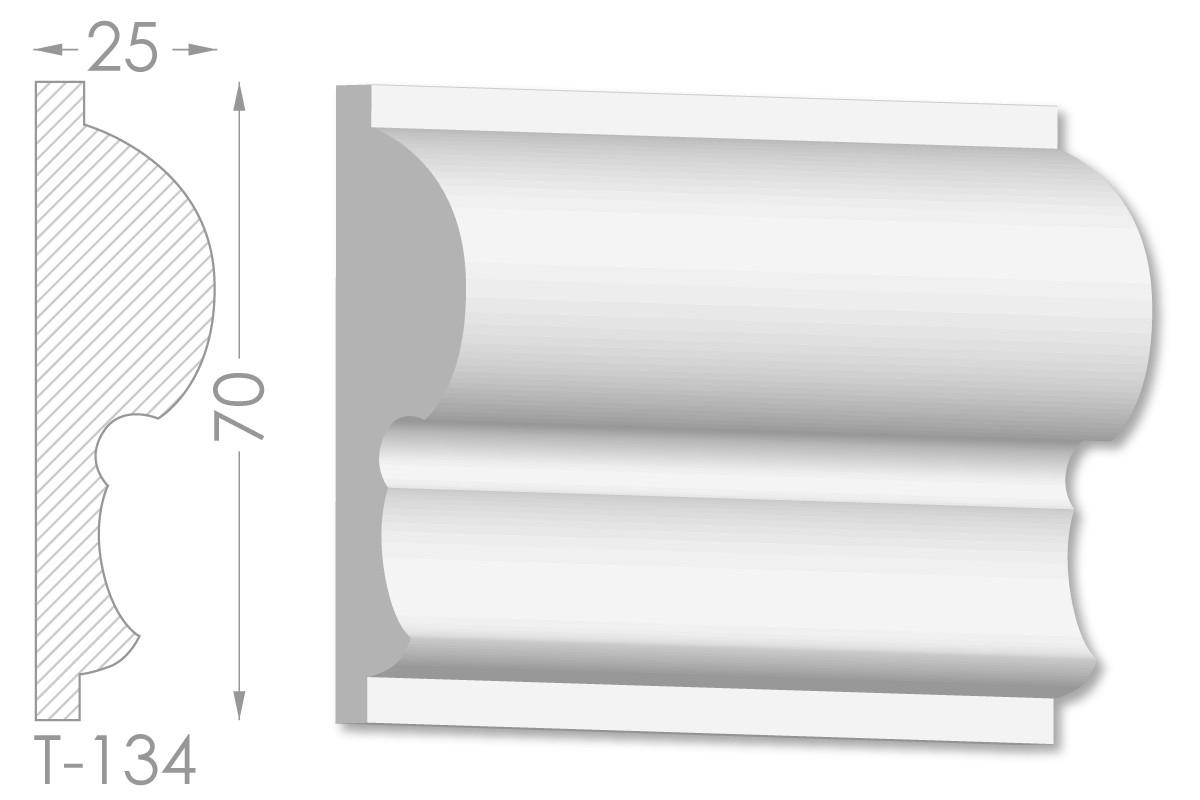 Декоративний молдинг, плінтус, фриз, тяга з гладким профілем з гіпсу т-134