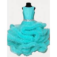 Платье детское нарядное Облако бирюзовое  9-10 лет