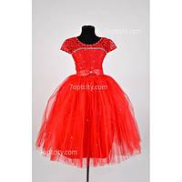 Платье детское нарядное красное Лилия 6-8 лет