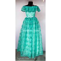 Платье детское нарядное Гипюр мятное 9-12 лет