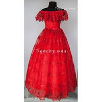 Платье детское нарядное Гипюр красное 9-12 лет