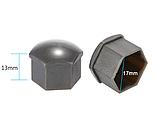 Защитные пластиковые крышки на колесные гайки 17 мм серые, фото 5