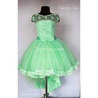 Платье детское нарядное Шлейф мятное 7-9 лет