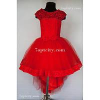 Платье детское нарядное Шлейф красное 7-9 лет