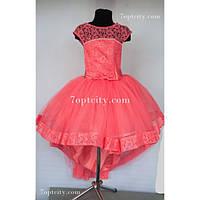 Платье детское нарядное Шлейф коралловое 7-9 лет