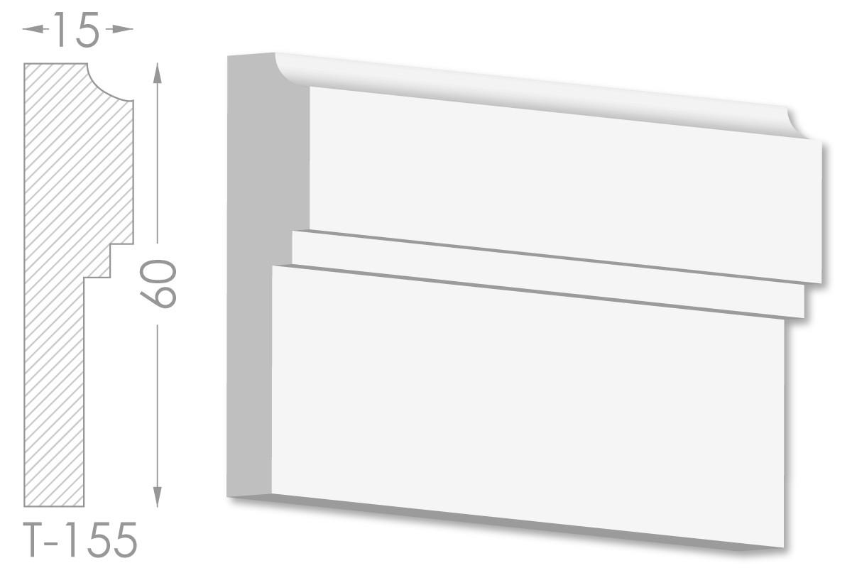Декоративный молдинг, плинтус, фриз, тяга с гладким профилем из гипса т-155