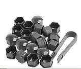 Защитные пластиковые крышки на колесные гайки 17 мм серые, фото 2